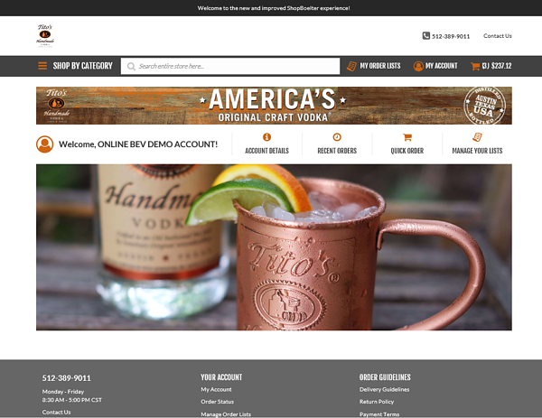 Titos custom site