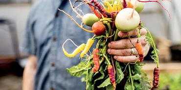 Man holding up fresh vegetables