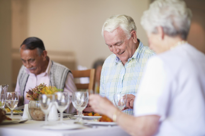 Senior living residents dining